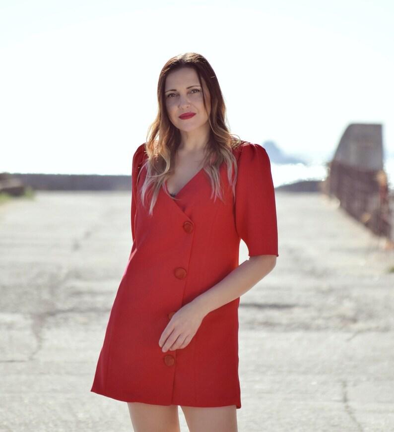 8d6ec5c28c Vestido corto rojo vestido cruzado vestido fiesta rojo