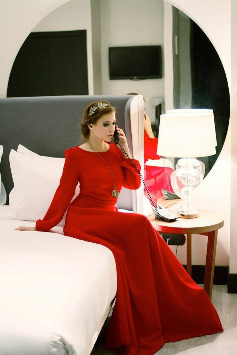 68dc506733 Vestido rojo largo vestido largo fiesta vestido rojo con