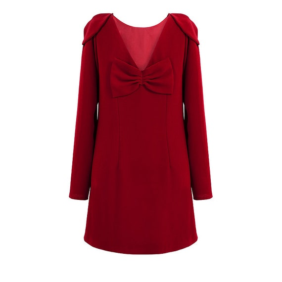 ea34fa81455 Short red dress red dress long sleeves dress shoulder pads