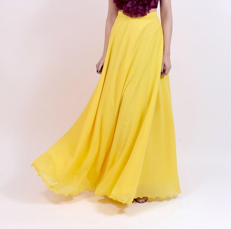 6c2beb7d55 Falda larga de fiesta falda larga amarilla maxi falda para