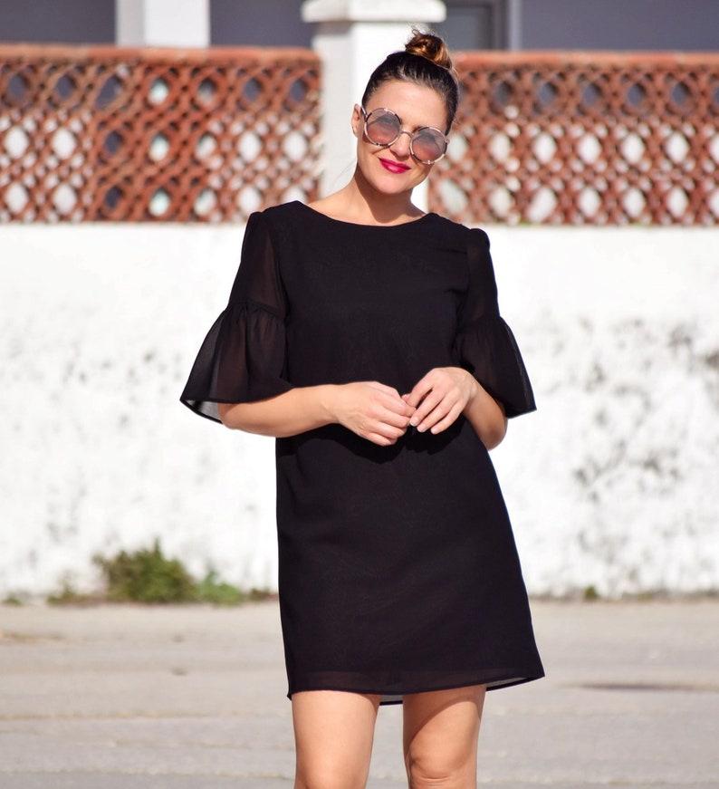 f6fd1f870d Vestido negro de fiesta vestido corto negro vestido escote