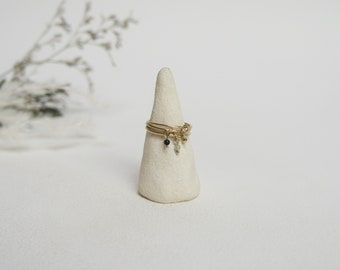 minimalist jewel in brass plated chiseled texture and semi-precious stone set handmade in France EJIPUTO ring