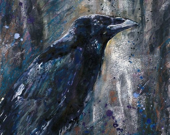 Crow, Original Watercolour/watercolor print Naomi Neale art 16x12inch and 12x8inch Crow painting Bird painting crow watercolour Crow print