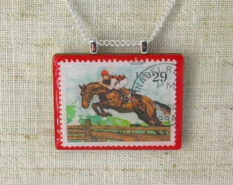 Vintage American Horse Racing Postage Stamp Pendant Necklace 1994 Equestrian USA
