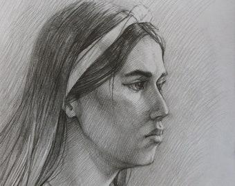 Art Drawing pencil on paper Fine Art college Portrait Wall art OOAK