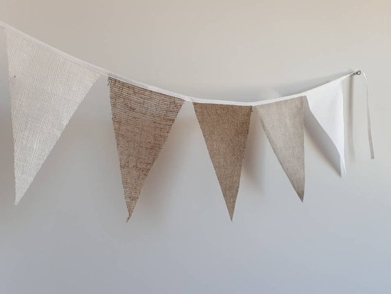 Bunting Linen Triangle Flags Banner Garland Holiday Party Festival Wedding DT