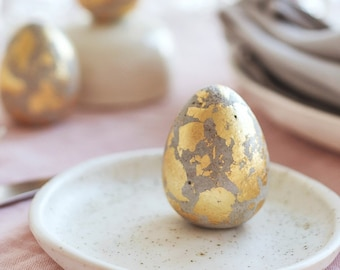 3 Concrete Easter Eggs for DIY decoration with gold color leaf