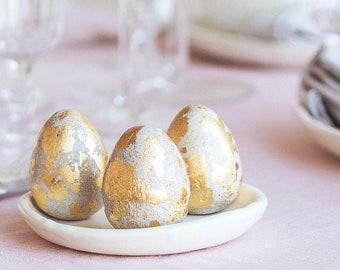 Easter DIY kit with concrete Egg and gold color leaf set of 6