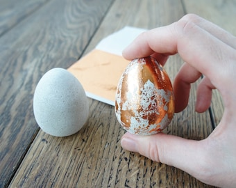 6 Concrete Egg with copper color gilding leaf for Easter DIY