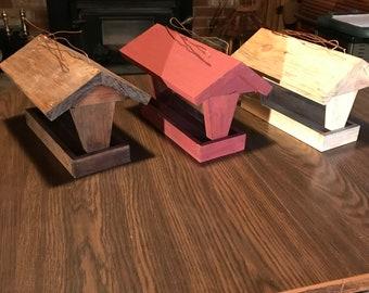 wooden bird feeder.