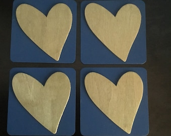 Navy and Gold Heart Coasters - Set of 4