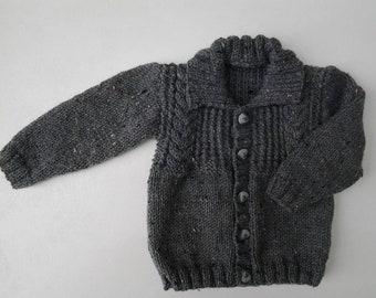 Hand knitted grey with  fleck aran boys cardigan/jacket