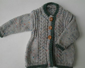 hand knitted green/cream fleck aran girls cardigan/jacket size 0-9 months