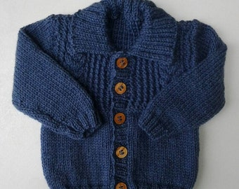 Hand knitted denim blue aran boys cardigan/jacket