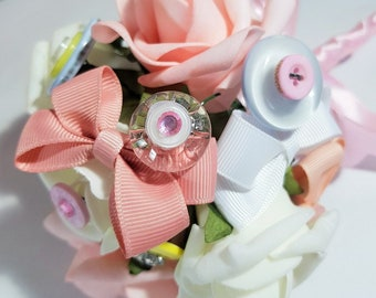 Buttons and Bows Flower Girl Bouquet