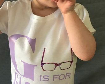 G is for Glasses shirt PURPLE AND PINK