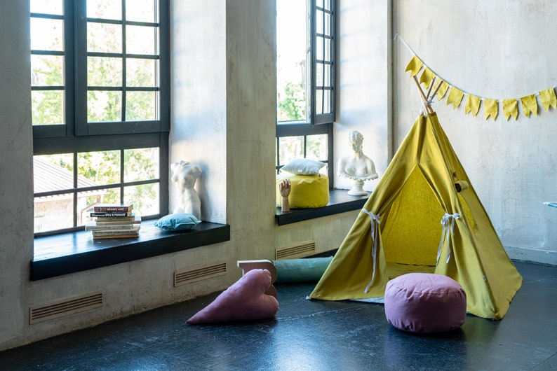 Organic Teepee Lime,Linen Teepee,Tent for Kids,Eco Canvas Tipi Tent Natural kids tent,Tent for Playroom Baby room Tepee,Yellow Teepee