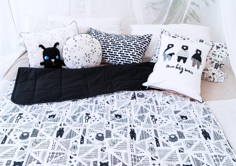 Black White Baby Quiltmodern Boys Blanket Nordic Toddler Boy Etsy