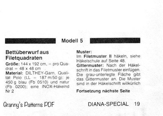 Diy Crochet Bedspread Pattern In German Pdf Downloadable Etsy