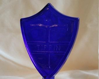Tiffin Cobalt Glass Store Display Logo
