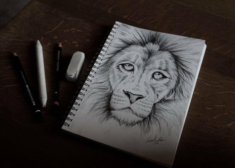 Rysunek Lion Etsy