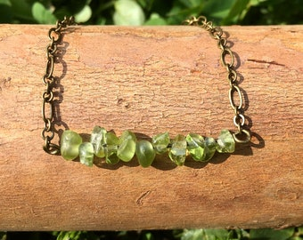 Peridot Bracelet on Antique Brass Chain