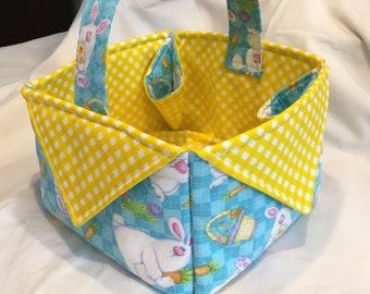 Easter Basket, Easter Bunny Basket, Quilted Basket, Gift Basket, Handcrafted, Keepsake, Spring colors