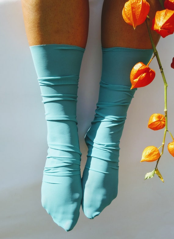 394dc035e08e3 Tulle socks. Sheer socks. Sheer Hosiery. Embellished socks.   Etsy