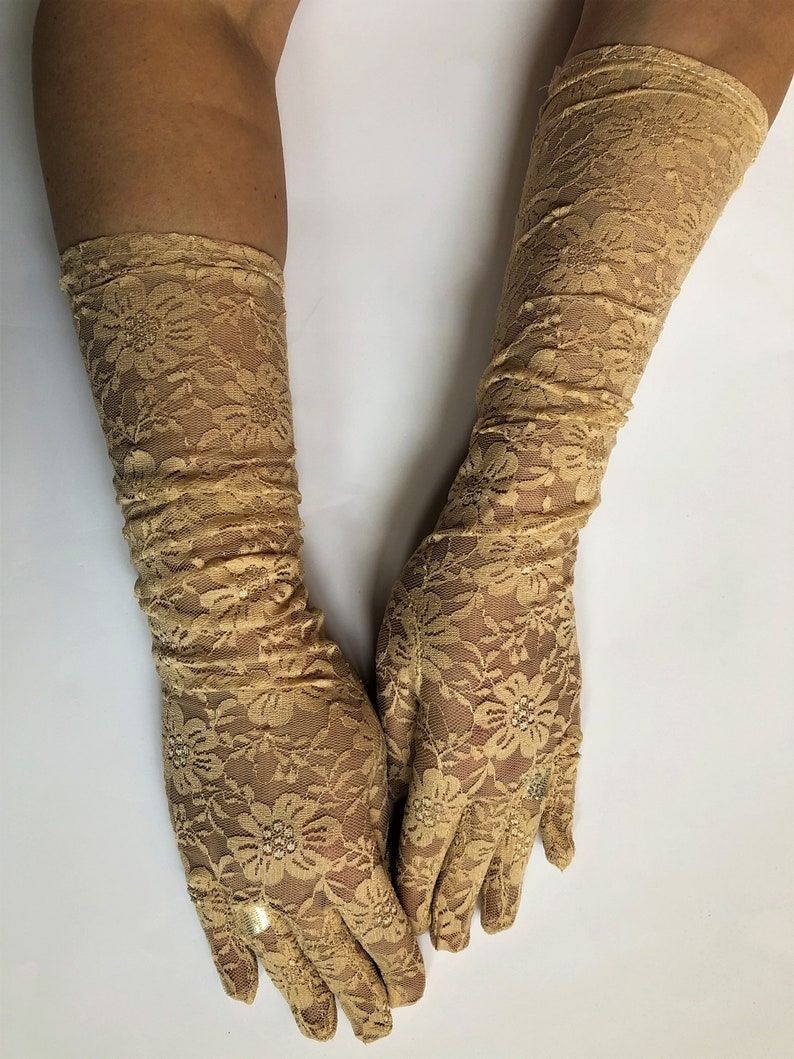 Nude lace gloves wedding lace gloves white gloves by