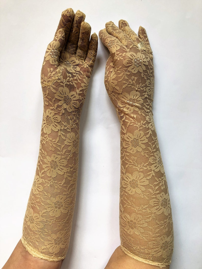 Girl Cream Paisley Lace Fingerless Gloves Lace Gloves Boho