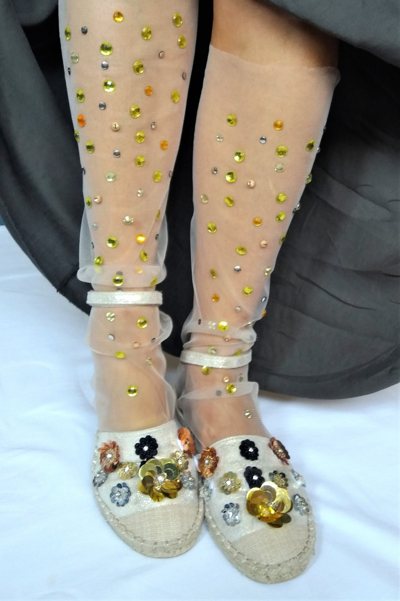 e401069607782 Tulle Socks. Sheer Cute Sparkle Novelty Tights with Crystals | Etsy