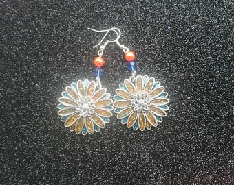 Handmade resin filled metal charm earrings