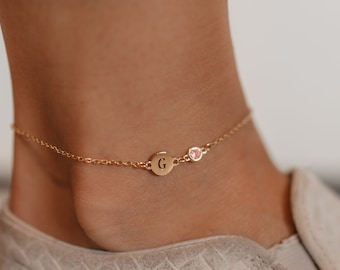 3e4f9e688010e8 Personalized Monogram Anklet, Gold Initial Anklet, Personalized Birthstone  Jewelry, 8mm Tiny Gold Disc Anklet