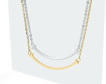 9990a2793 T Smile Necklace, Gold smile pendant, T bar, Mini Smile Bar Gold pendant,  14k gold pendant, Everyday Jewelry, Silver smile necklace