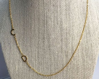 Sideways Double Initial Necklace Gold asymmetrical initial necklace tiny letter Personalized necklace Mother Gift Minimalist Graduation Gift