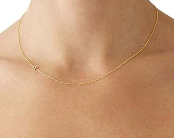 gold sideways initial necklace gold necklace personalized necklace gold jewelry personalized bridesmaid gifts silver letter necklace