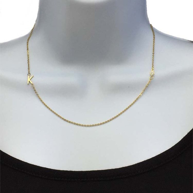 9cdd74dc9051 Sideways Initial Gold and CZ Necklace Tiny Letter Necklace