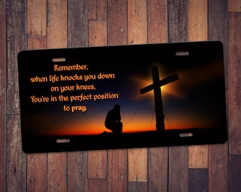 Kneel and Pray - Custom Graphic License Plates - High Resolution - Aluminum - UV Protected