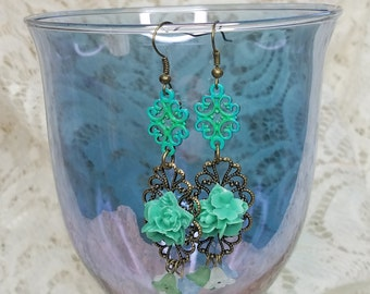 Turquoise Floral Dangle Earrings
