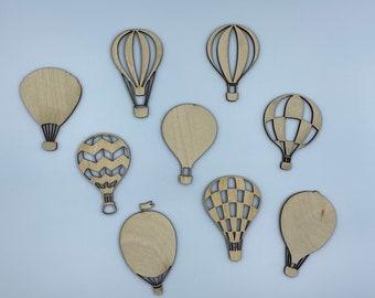 Hot Air Balloons - Wood Cutout Set (9)