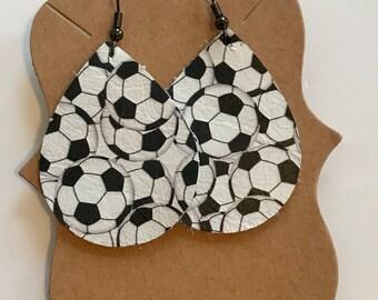 Soccer ball patterned leather earrings