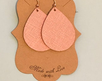 Light pink, patterned leather earrings