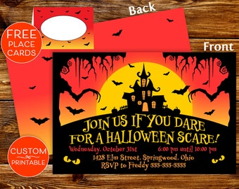 printable halloween party invitations spooky invite custom halloween invite spooktacular halloween place cards table tents