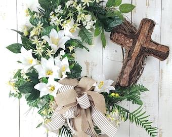 Easter Door Cross Easter Cross Front door wreath,Blue rose cross Easter Cemetery Cross,Front Door Cross Religious Cross Grapevine Cross