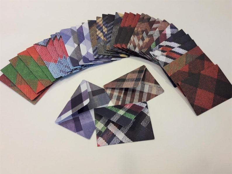 36 Mini Plaid Patterned Envelopes