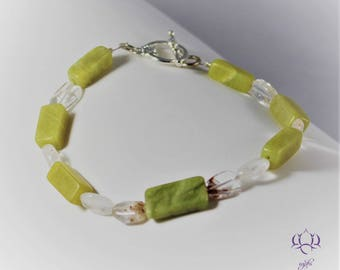 Yellow Turquoise, Olive Jade, & Quartz Bracelet