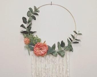 Floral Wall Hoop, Flower Wall Art, Flower Wall Decor