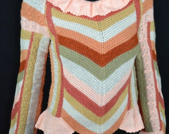 Hand knit colorful blouse