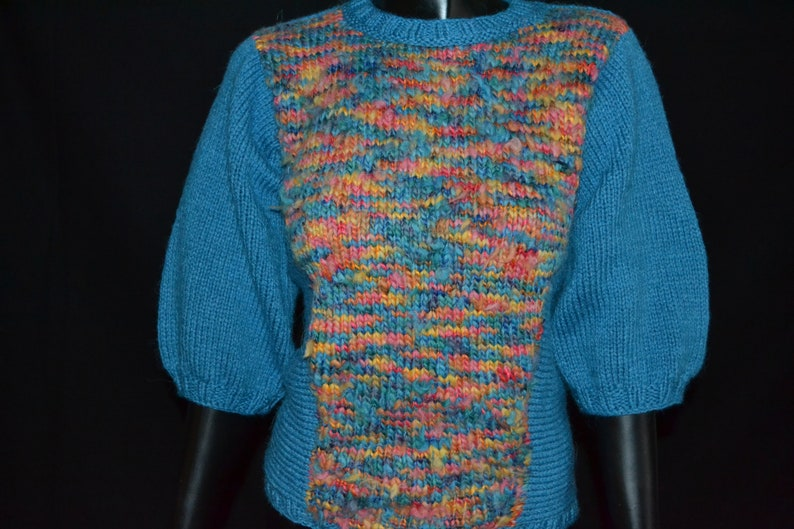Hand Knit colorful sweater,blue winter sweater,hand made extravagant sweater,Cristmas winter blue sweater,Cristmas Gif sweater