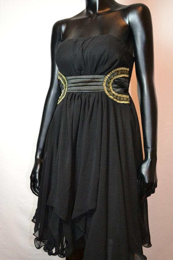 Black Dresscocktail Black Dress With Rhinestonesevening Etsy